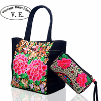 2pcs New Original Ethnic Embroidery Bag Peony Floral Embroidered Tote Travel Handbag +small Clutch Purse Phone Wallet Coin Bag