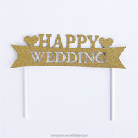 Happy wedding glitter paper cake toppers decoration for wedding party favors