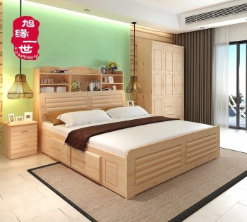 Attractive Natural Color Home Furniture Pine Wood Latest Double Bed Designs Wood With  Box