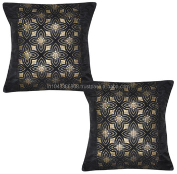 Indian Silk Ethnic Pillow Cover Printed Velvet Cushion Cover