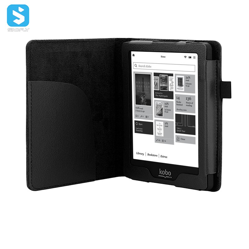 new products 2018 Book type PU leather for kobo clara hd , e-book reader case cover