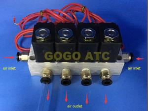 "4pcs valve with manifold 2 way Pneumatic direct acting solenoid valve 2V025-06 1/8"" BSP 110V AC micro control gas valve set"