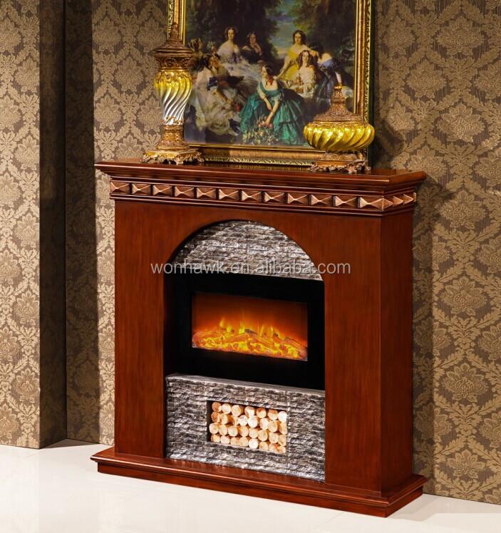 Repisa de la chimenea de madera y resina indoor chimenea - Chimenea para calefaccion ...