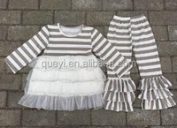 fashion gray white stripe long sleeve lace clothes and icing ruffle pants wholesale girls outfit
