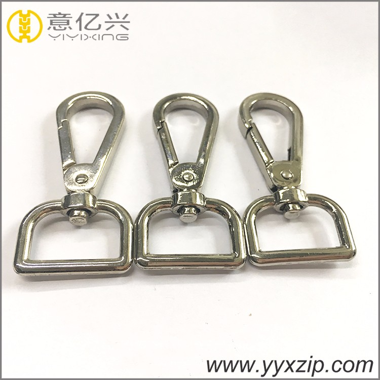 Simple swivel D ring bolt metal silver oval hook