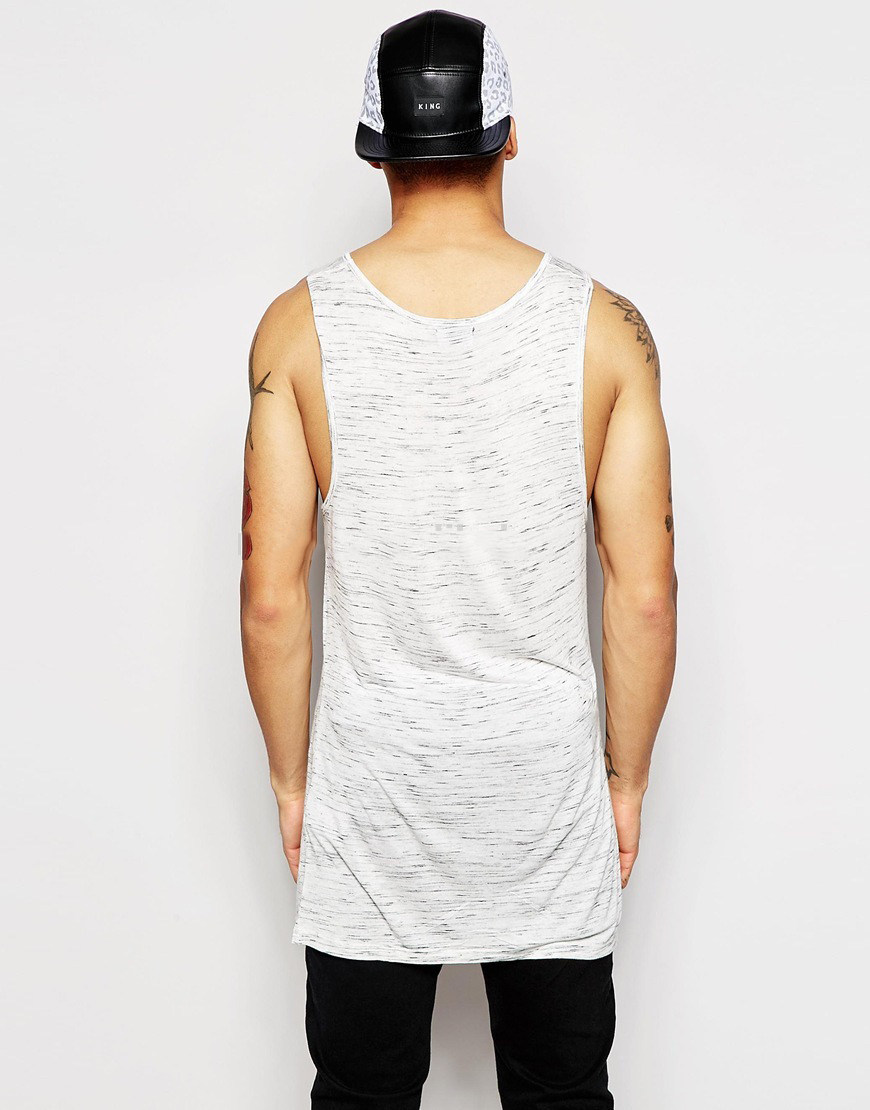Wholesale Blank Long style Vest Oversize Shape Cotton Relaxed Men TANK TOP