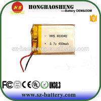 For Vehicle traveling data recorder rechargeable battery 403040 3.7v 450mah li-ion polymer battery
