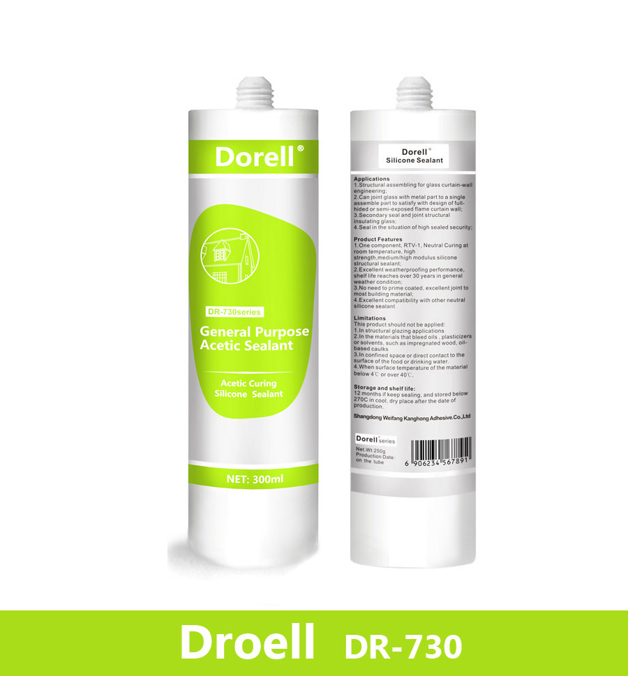 Acetic fast curing indoor silicone sealant DR730