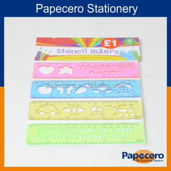 16cm Colourful Plastic Stencil Scale Ruler With Letter Or Number ...