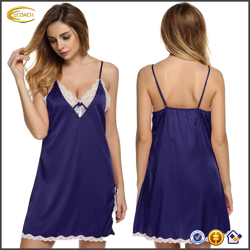 Sexy Lingerie Women's sexy strap v neck Sleepwear Satin Lace Chemise Nightgown