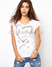 nice ladies' T-shirt white shirt screen print