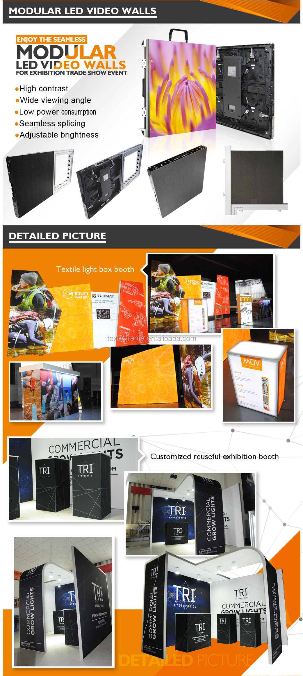 Tian Yu provide 2019 Shanghai NEW style Customize Printed led Screen exhibition booth trade show booth