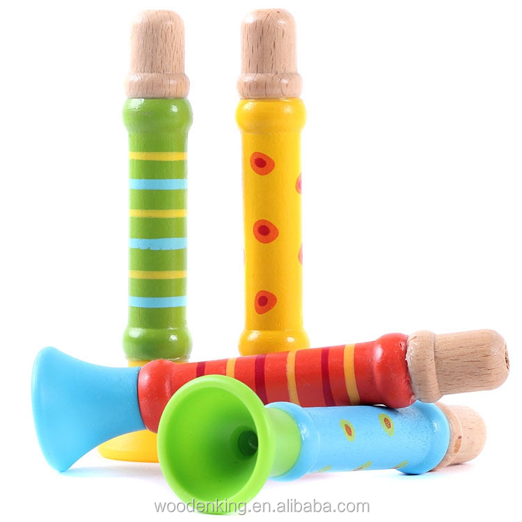 Yiwu Baby Kids Wooden Children Trumpet Musical Play Toys Infants Toy Flute Tuba Instrument