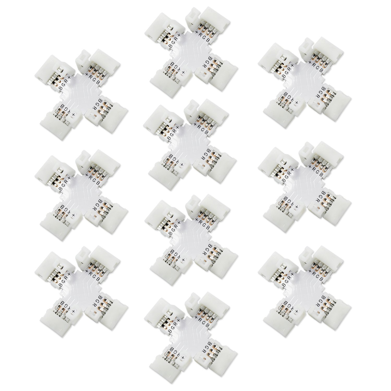 ESUMIC® 4 Pins Connector 10mm for 5050/3528 SMD RGB Non-waterproof LED Flexible Strip Lights 10 Pack (+shape)