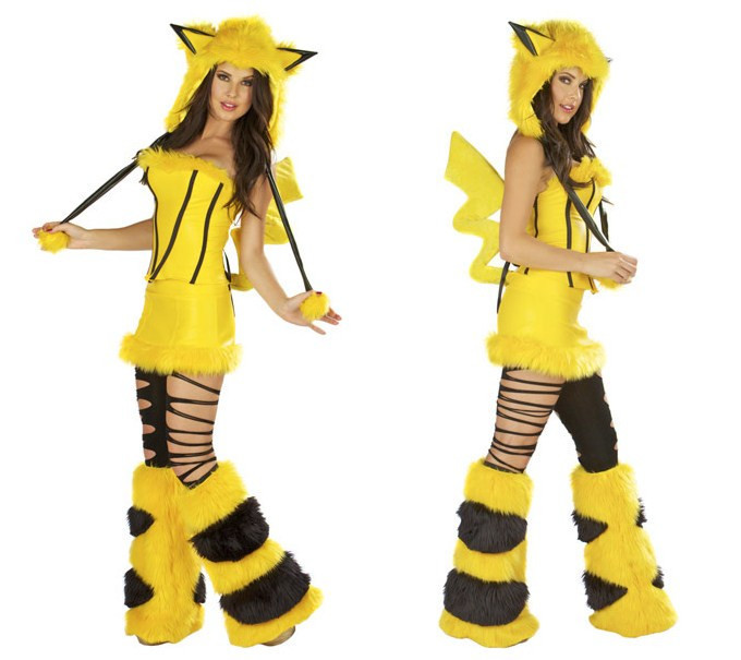 New Arrival Sexy Footed Pajamas Pokemon Adult Furry Pikachu With Tail Costume for Women Halloween Fur Animal Costumes Cosplay