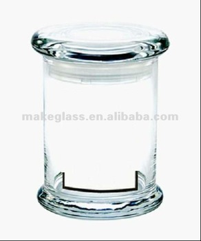 Small Round Glass Storage Jar food Container With Flat Glass Lid