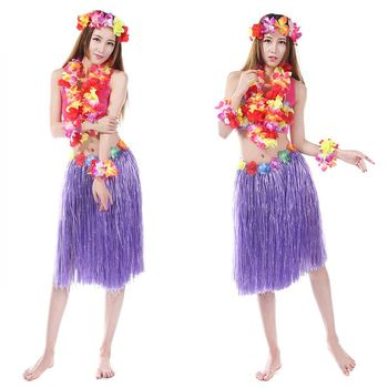 8241b5f2a5a2 8 Color 5PCS/set Plastic Fibers Women Grass Skirts Hula Skirt Hawaiian  costumes 60CM Ladies