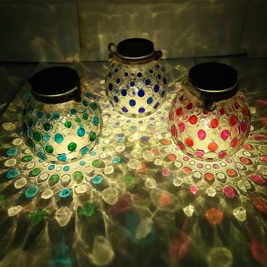 Hot sale garden lawn color spot glass jar led decorative solar light