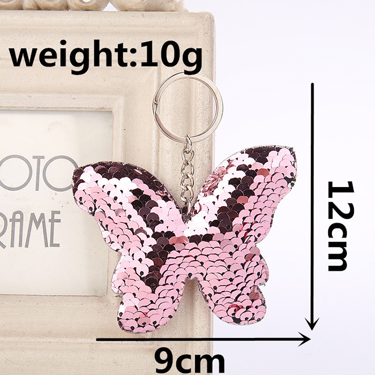 MQ147 Sequin butterfly key buckle Women's Bags Car Pendant Keychain Hanging Accessory Key Ring Gift