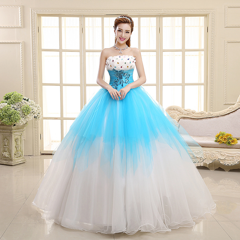 Fashion Light Blue Puffy Strapless Blackless Floor Length Wedding ...