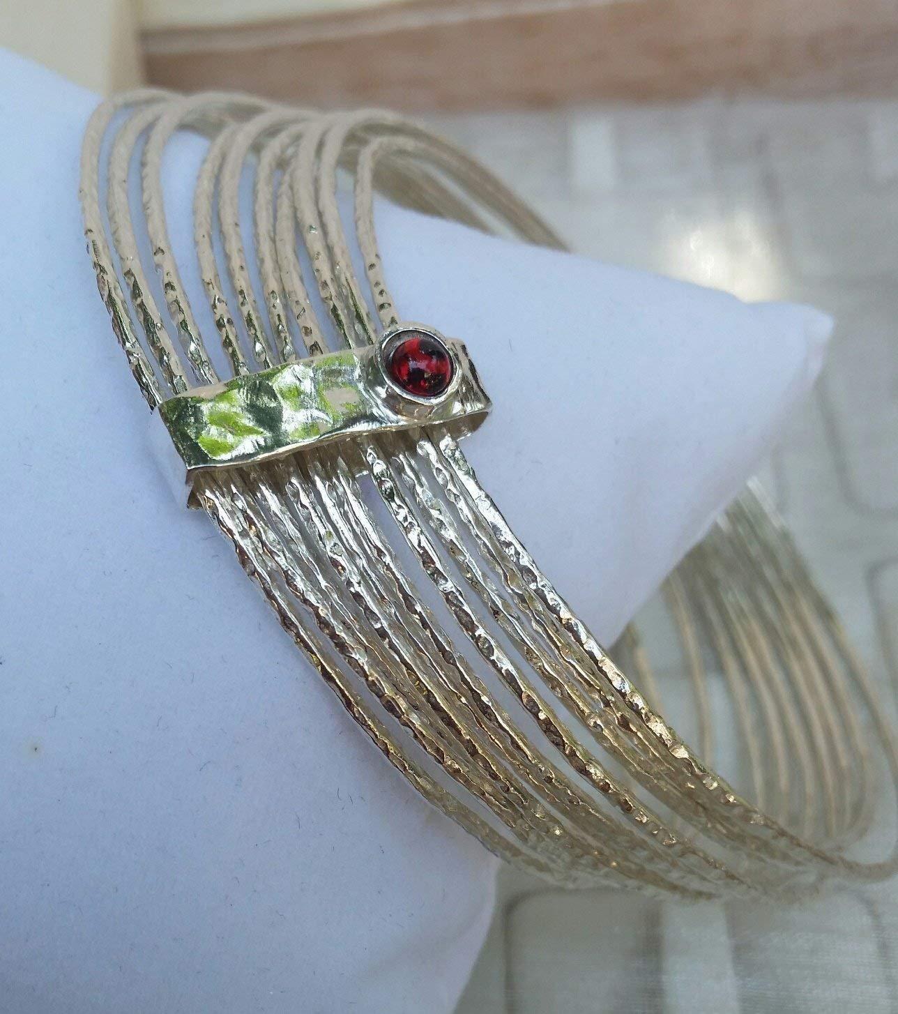 Stackable Silver Bracelet ,Sterling Silver Bangle ,Stacking Bracelet ,Sterling Silver 925 Gemstones Bracelet ,Garnet Silver Unique Bracelet Unique Bangle