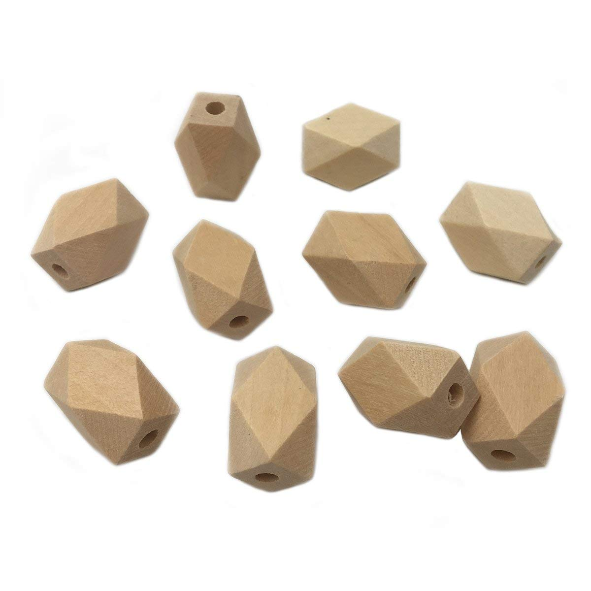 Wendysun 15mm22mm 50Pcs Natural Organic Maple Unfinished Hexagon Geometric Wooden Beads DIY Necklace Bracelet Beads Accessories&Crafts Baby Teether Hanging Materials Wooden Teether