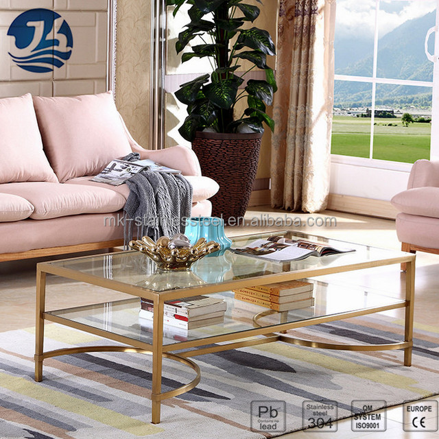 Luxury Living Room Furniture Glass Top Golden Color Table
