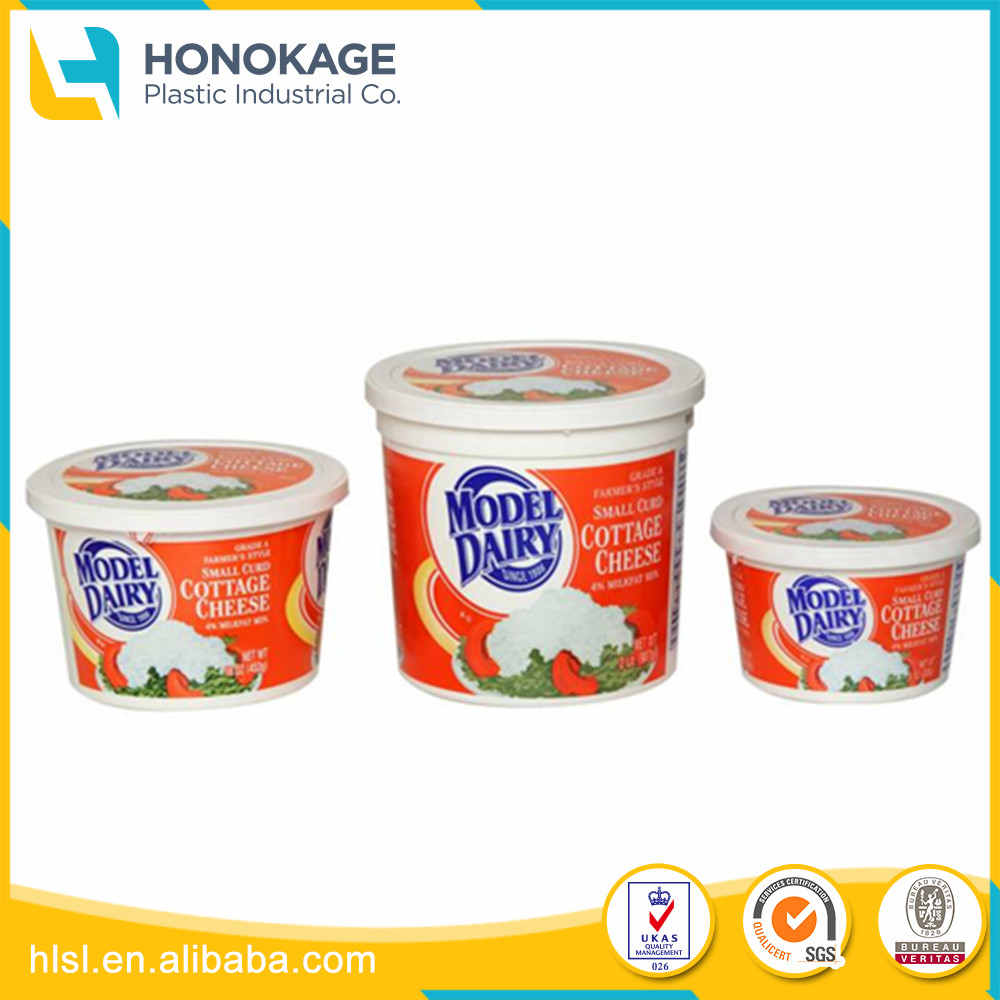 Customised Size Round Injection Container Packaging For Cheese BoxCup Jelly With Custom Design