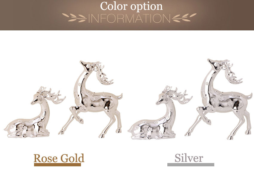 Home decorative crafts resin silver deer sculptures for home table decor