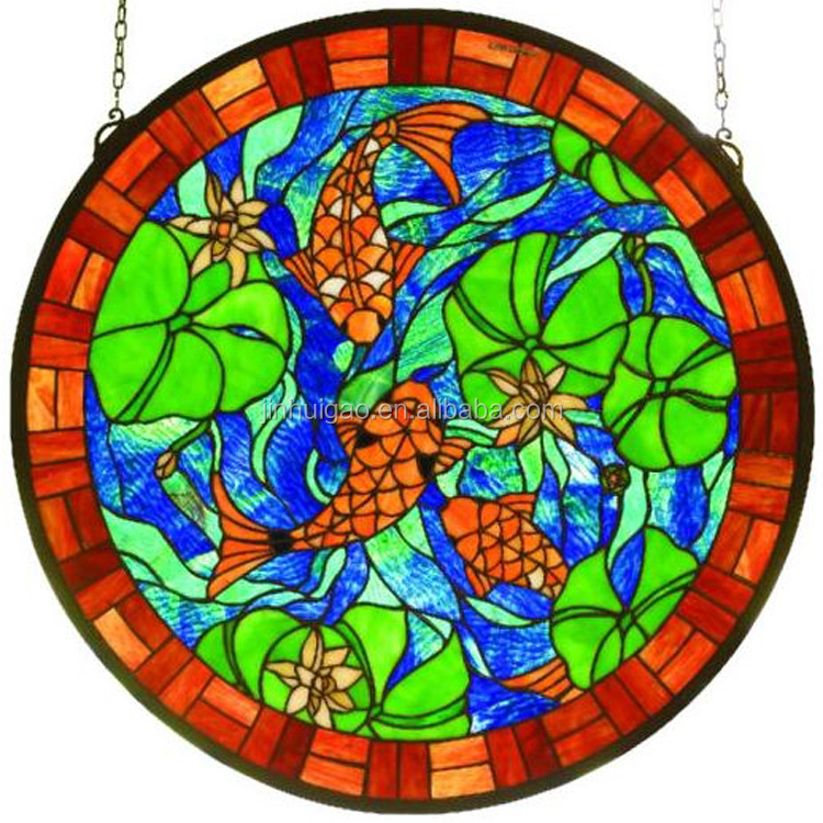 Decorative stained glass windows panels with beautiful goldfish pattern design