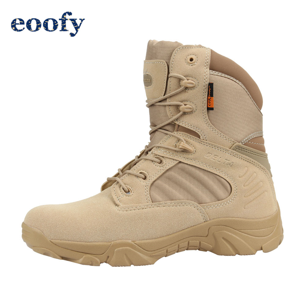Winter Autumn Men Military Boots Special Force Tactical Desert Combat Ankle Boots Army Work Shoes Leather Snow Boots DELTA