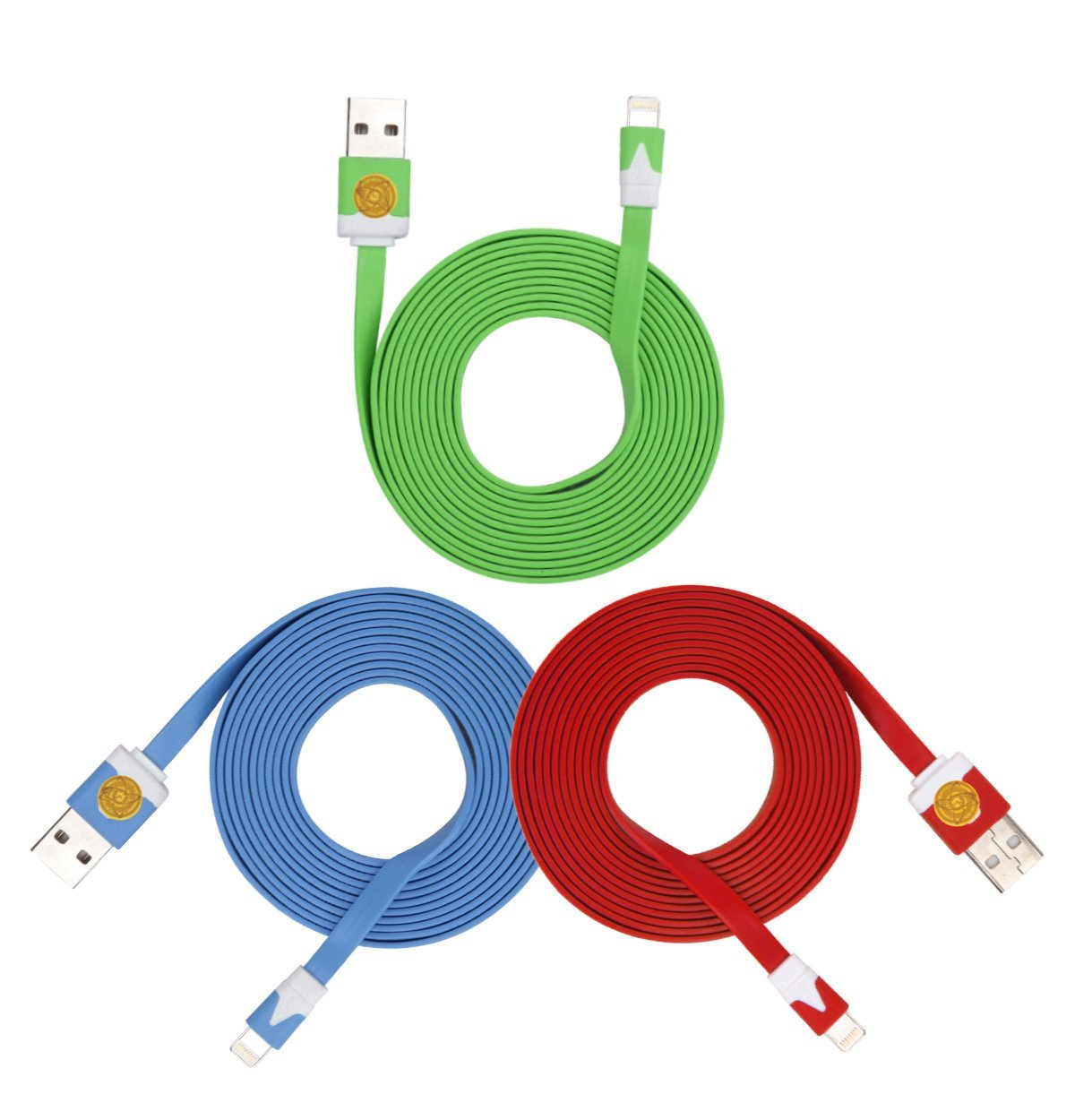 2M Heavy Duty Flat Noodle Lightning USB Cable for Apple iPhone 6,6S -Blu grn red