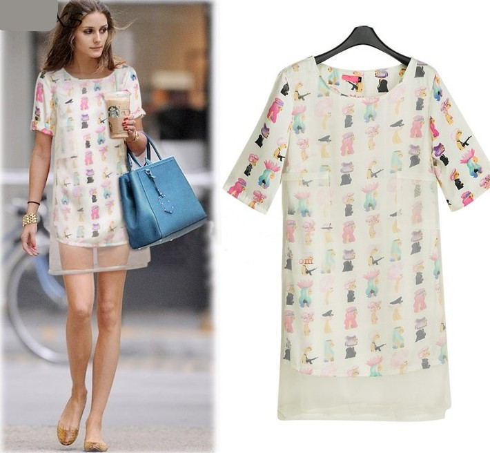 2015 Summer New Fashion Plus Size Straight Two Layers Style Organza Short  Sleeve Print Summer Women Dress - Buy 2015 Summer Dress Woman,Short Sleeve  ...