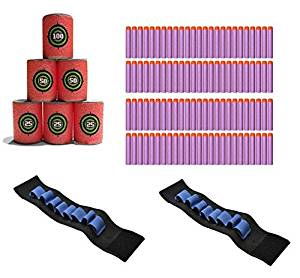 JoyBound 3 Piece Target Practice Set Arm Holster Holds Nerf Darts and 100 Universal Standard Refill Soft Round Head Bullet Pack for Most Nerf N-strike Elite Series Blasters -Purple