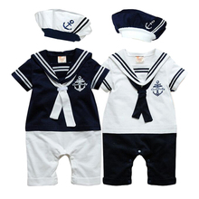 New Summer navy style short sleeve Newborn baby romper kids boys girls romper hat set baby