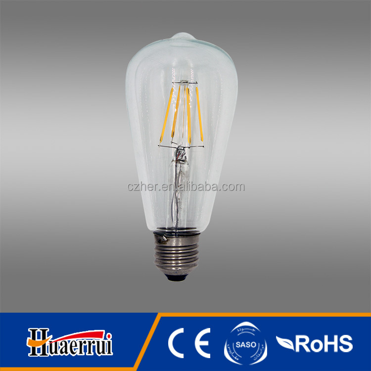 e274w 100lm China ST64 6W E26 amber glass led filament bulb