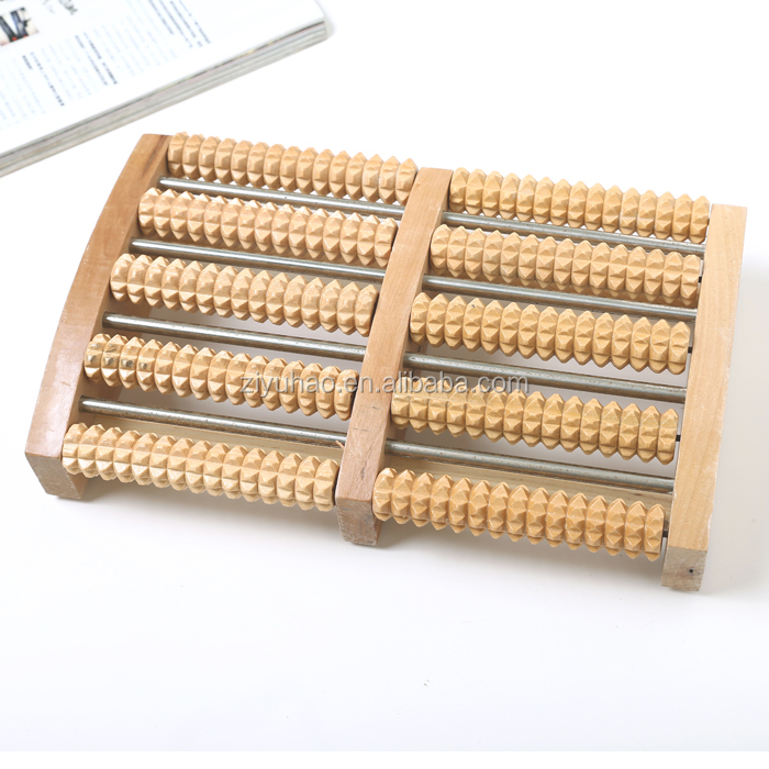 Different kinds hand-made 5 rows wooden roller bead foot massager