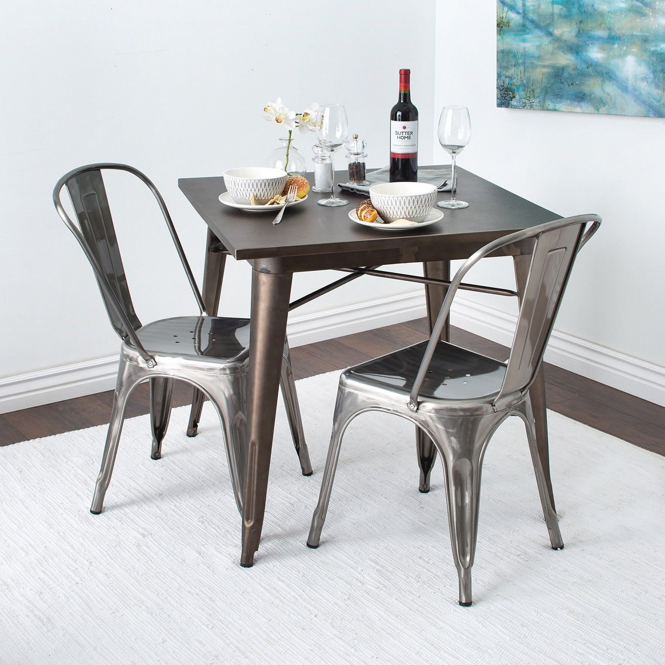 GHP 4-Pcs 330-Lbs Capacity Gunmetal Steel Antique Bistro Dining Chairs with Backrest