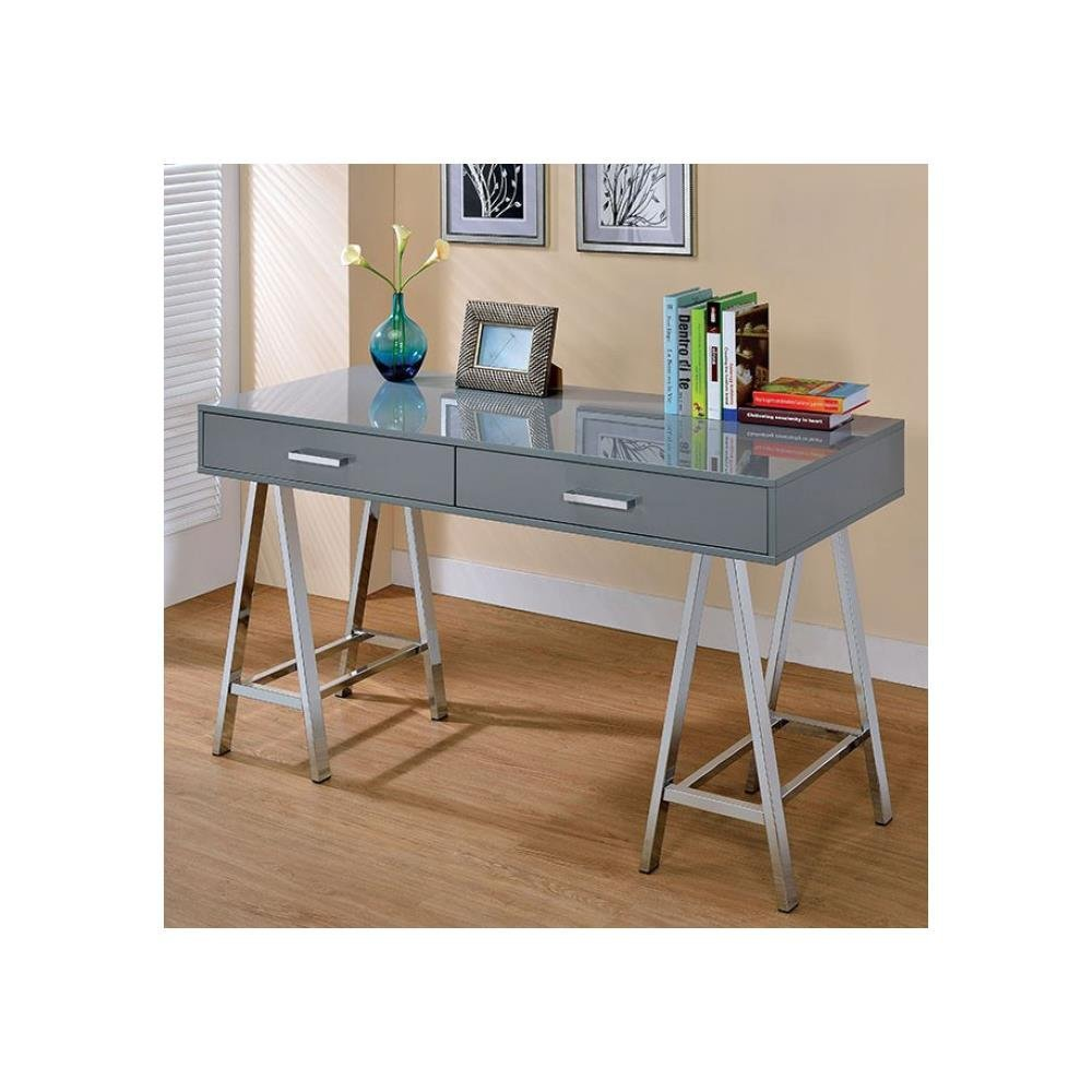 FA Furnishing Holton Contemporary 54 inch Long Computer Desk in Grey Lacquer