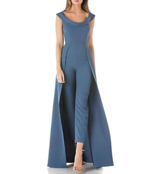 12815a0a1e4 Jumpsuits Women 2018 Fashion Overall New Overlay Skirt Jumpsuit Stretch  Crepe Sleeveless Walk-thru Pants