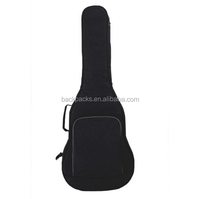 "Polyester Fabric Guitar Bag Black 16"" Wide and 41.7"" Length with Double Padded Straps"