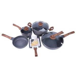 Aluminum Alloy nonstick marble stone coating cookware set with wooden handle sets
