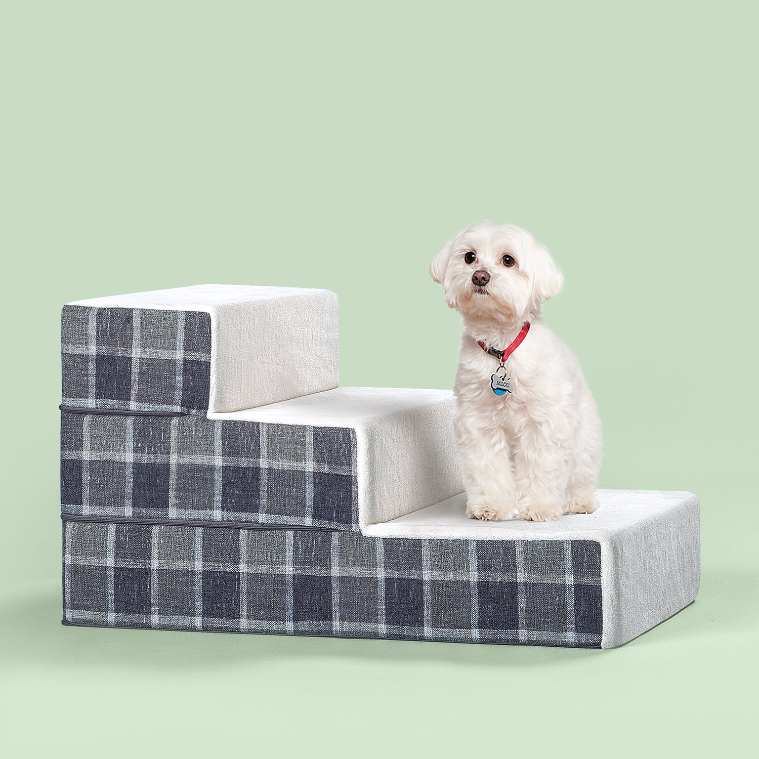 Get Quotations · Zinus Cozy Pet Stairs/Pet Ramp/Pet Ladder/Grey Checked