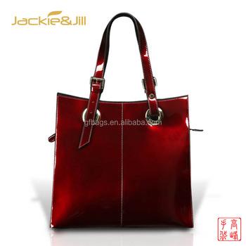 Gf 045 Shining Burgundy Patent Leather Handbag