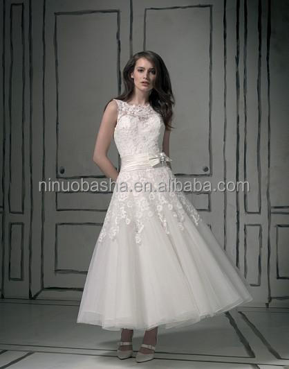 Top Quality 2014 Short Ball Gown Wedding Dress Jewel Neck Tea Length Keyhole Back Lace