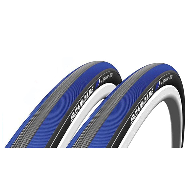 Schwalbe Lugano 700c x 23 Bike Tyres - Blue (Pair) by Schwalbe