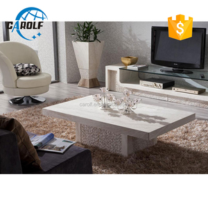 white high end white natural stone coffee table marble center table