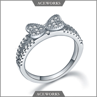 RN3137 Aceworks 2016 Top Fashion Unique 925 sterling silver bow tie wedding ring for gift
