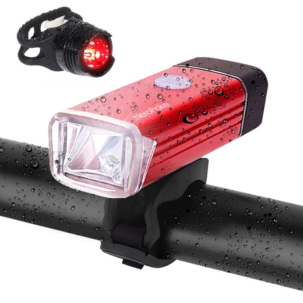 Rechargeable Led Bike Light Bike Rear Tallight Set, Carry-on USB Charging, IPX6 Waterproof Cycle Light Fit All Bike Style(Red)