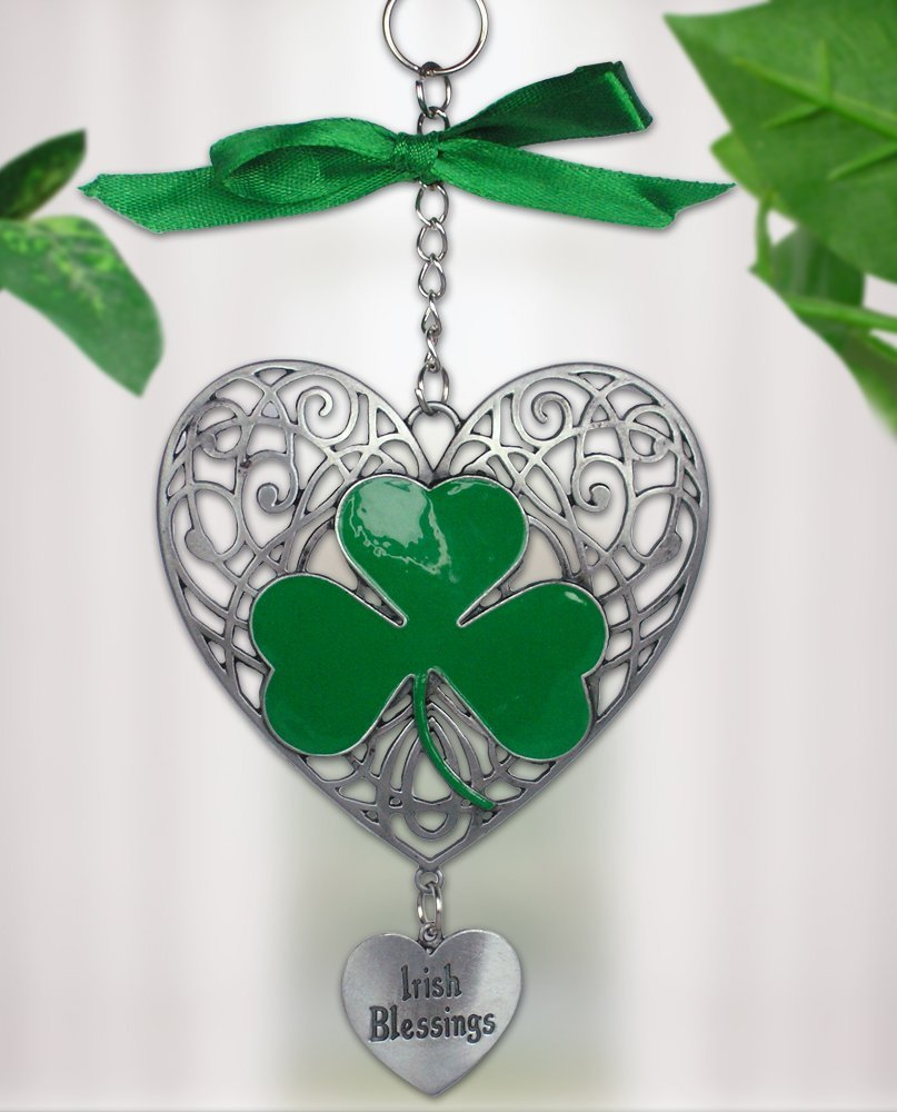 Celtic Heart Triquetra Shamrock St Patricks Day Charm Bracelet with Gift Box BUbpk